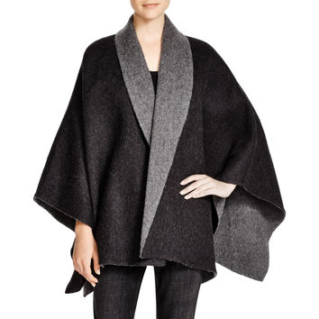 Eileen Fisher Womens Baby Alpaca Blend Colorblock Poncho Top