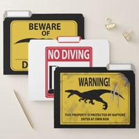Dinosaur Caution Signs File Folder