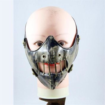 Takerlama 1pc Unisex Steampunk Mask Gothic Punk Rivet Cosplay Face Mask Retro Mask Winter Warm Mask Windproof