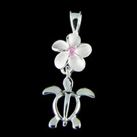 SILVER 925 8MM HAWAIIAN PLUMERIA FLOWER DANGLE TURTLE HONU PENDANT PINK CZ