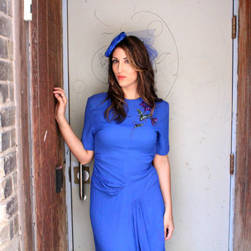 1940's Dress,VINTAGE, Wiggle, Blue, Old Hollywood, BRIDESMAID, Sequins, Crepe, COUTURE