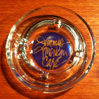 Vintage collectible souvenir glass ashtray from Jimmy's American Cafe in Des Moines, Iowa.