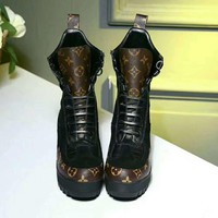 LV Louis Vuitton Trending Women Fashion Print Heels Shoes Boots