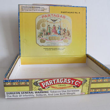 Partagas Cigar Box Wooden Cigar Box Partagasy Cigar Labels Cigar Box Tobacciana Antique Cigar Box Vintage Cigar Boxes