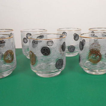 Mid-Century Low Ball Glasses Set - Old Coin Cocktail Glasses - Set of 6 Vintage Barware -Cocktail  Glasses - Free US Shipping