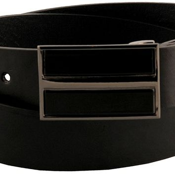 Sunny Belt Mens 1 1/4 Wide Sleek Black Faux Leather Belt With Square Plate Buckle