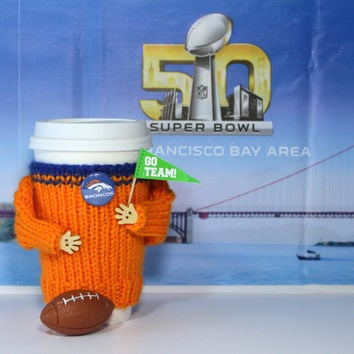 Denver Broncos cozy. Super bowl 50. Broncos shirt. NFL Broncos jersey. Orange blue. Travel mug cozy. Football boyfriend gift. Sporty gift.