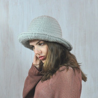 Gray Hat, Women's Brimmed Hat, Handmade Hat, Yarn Crochet Hat, Floppy Hat, Flatter Hat, Winter Spring Hat, Impressive unique, Acrylic, OOAK