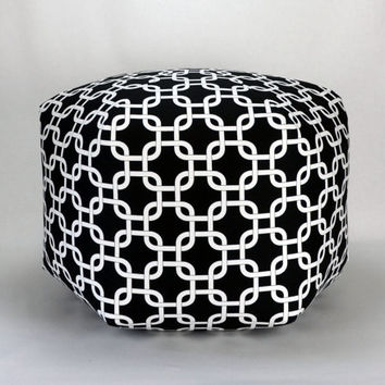 "24"" Floor Ottoman Pouf Pillow Black & White - Gotcha Chainlink Contemporary Modern Print"