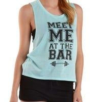 Lt Blue Meet Me at the Bar Graphic Muscle Tee by Charlotte Russe