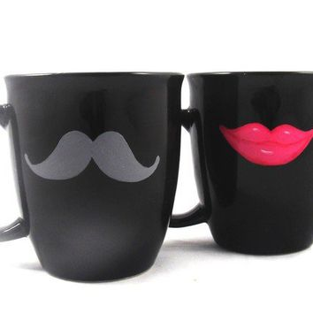 Sexy grey mustache and hot pink lips coffee mug set by kaoriglass