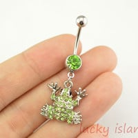 belly ring,frog belly button jewelry,green belly button rings,navel ring,piercing belly ring,body piercing bellyring