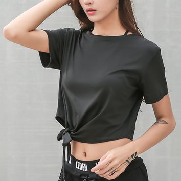 Quick Dry Crop Top Knotted Waist Shirt