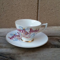 Happy Birthday To You Lefton China Hand Painted Regal & Pat Off 586 Teacup and Saucer