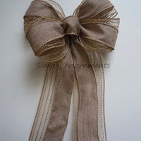 Natural Colored Mesh Burlap Wedding Bows Rustic Burlap Bow Wreath Bows Rustic Home Decoration Bows