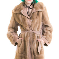 Vintage Fawn Faux Fur and Suede Coat - XS/S/M