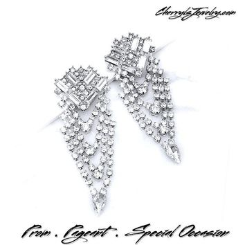 Large Crystal and Rhinestone Event Earrings