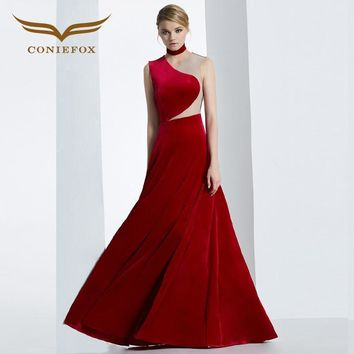 CONIEFOX 2016 WINTER PANDORA COLLECTION RED AND NAVY VELVET PROM LONG SPECIAL OCCASION