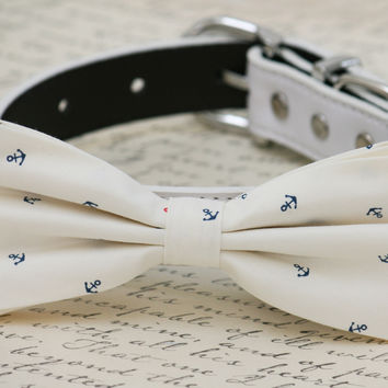 White dog bow tie attached to collar, Beach wedding, Anchor, Dog lovers