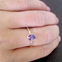 SALE! Amethyst Ring - Gold Ring - Stacking ring - Thin Stackable Ring - Gemstone Ring - Purple Ring - Bridal Ring - Simple Ring