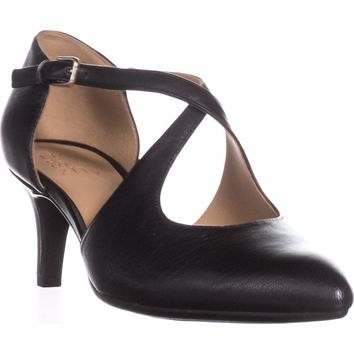 naturalizer Okira Criss Cross Pumps, Black Leather, 9 W US