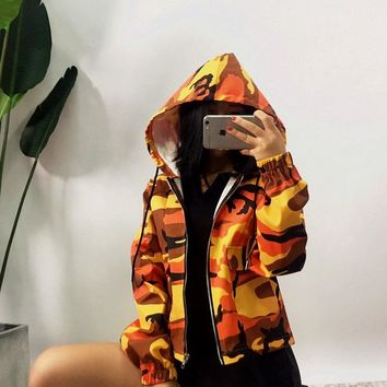 Zippers Windbreaker Winter Camouflage Print With Pocket Hats Long Sleeve Slim Jacket [212031340570]