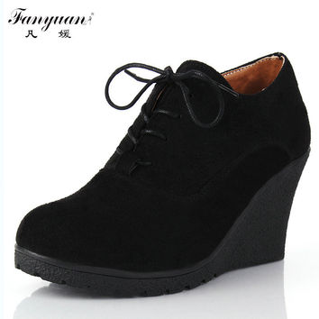 2015 New Wedges Women Boots Fashion Flock High-heeled Platform Ankle Boots Lace Up High Heels Spring Autumn Shoes For Women