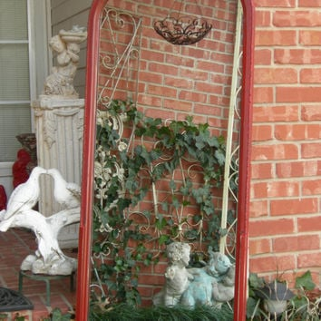 Antique Floor Mirror Red Painted Chic Carved Beading Wood Frame Cottage Shabby Country