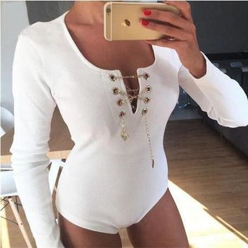 Winter V-neck Chain Long Sleeve Romper [6032473089]