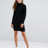 New Look Ribbed Roll Neck Mini Dress at asos.com