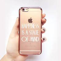 Transparent Happiness Quote iPhone Case - Transparent Case - Rose Gold - Transparent iPhone 6 - Transparent iPhone 6S - Gel Case - Soft TPU