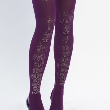 Leg Jewel Hand Printed Tights