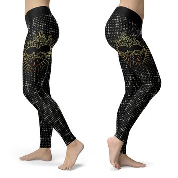Crown of Thorns Cross & Heart Leggings