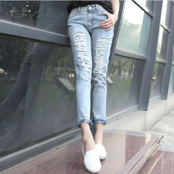 New loose casual boyfriend hole ripped jeans low waist