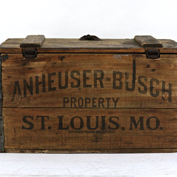 Anheuser-Busch Wooden Beer Crate Circa 1920, Wooden Beer Crate, Budweiser Beer Crate