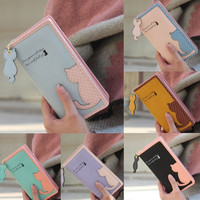 New Fashion Women Cat Purse Long Wallet Bags PU Handbags Card Holder
