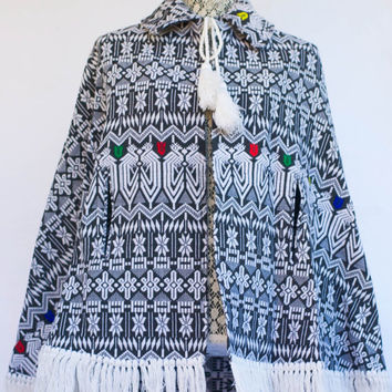 Vintage Black and White Hand-woven Aztec Design Fringed Cape With Tie Tassels