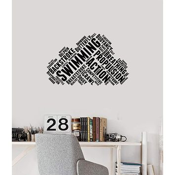 Vinyl Wall Decal Swimming Words Cloud Swimmer Words Cloud Decor Stickers Mural (ig5704)