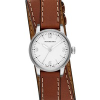 Burberry Unisex Swiss The Utilitarian Tan Leather Double Strap Watch 30mm BU7848