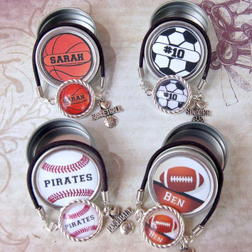 2 Personalized Sport Bracelets Custom With Matching Gift Tin Soccer Baseball Basketball Football Girls Teens Friends Boyfriends