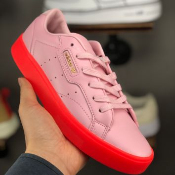 HCXX A1387 Adidas Sleek W Leather Classic Casual Sports Board Shoes Pink Red