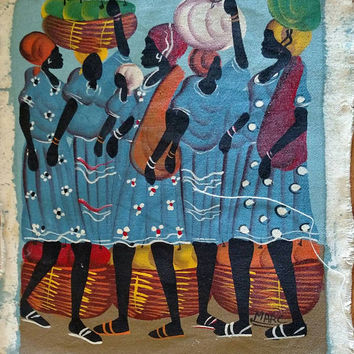 Vintage Haitian Painting on Canvas / Unframed / Sky Blue / African / Market / Folk Art / Village / Caribbean Art / Ethnic Art / Bohemian