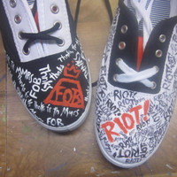 Paramore Fall Out Boy Painted Canvas Shoes for Monumentour (Riot!, FOB)