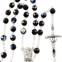 Lady of Lourdes,W/ Black Crystal Beads Water Rosary