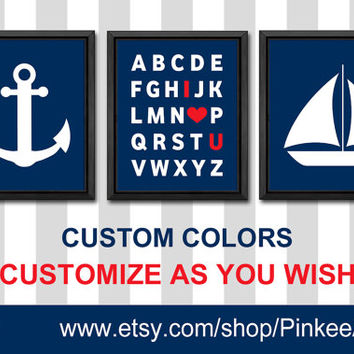 solid navy blue nautical wall art trio I love you alphabet sailboat and anchor custom kids room decor ABC wall art baby boys room nautical