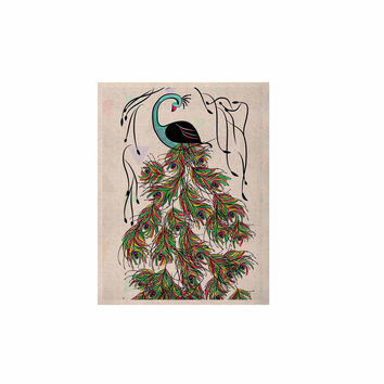 """Famenxt """"Colorful Peacock"""" White Green KESS Naturals Canvas (Frame not Included)"""