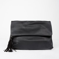 Foldover Medium Crossbody Bag - Black