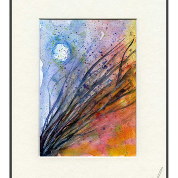 Abstract watercolour & gouache painting of reeds in the moonlight. painting mounted and wall ready. twigs, night,abstract,wall art, desk art