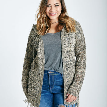 Plus Size Hooded Fringe Cardigan | Wet Seal Plus