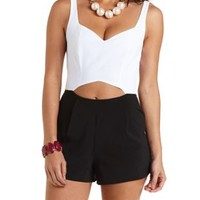 Color Block Cut-Out Romper by Charlotte Russe - Black/White